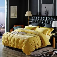恩和针织提绒条纹保暖四件套 小号(1.2m床) 条纹 怀旧黄