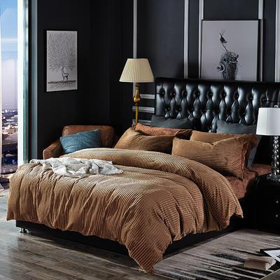 针织提绒条纹保暖四件套 标准(1.5m床/1.8m床) 条纹 绅士棕