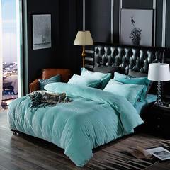 恩和针织提绒条纹保暖四件套 小号(1.2m床) 条纹 水影蓝