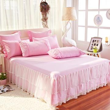 恩和家纺十里桃花双层蕾丝单床裙 150*200 粉色