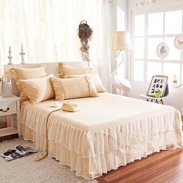 床裙 全棉蕾丝双层纱床裙 床裙三件套 恩和家纺