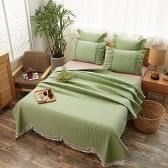 床盖 全棉绗缝床盖三件套 枕套48*74/对 抹茶绿