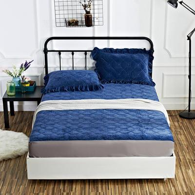 恩和家纺水晶绒保暖床笠 120*200+25cm 宝蓝