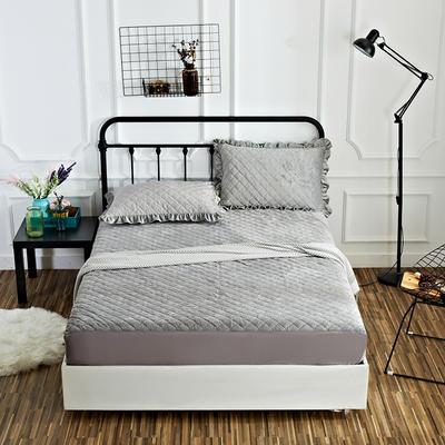 恩和家纺水晶绒保暖床笠 120*200+25cm 烟灰