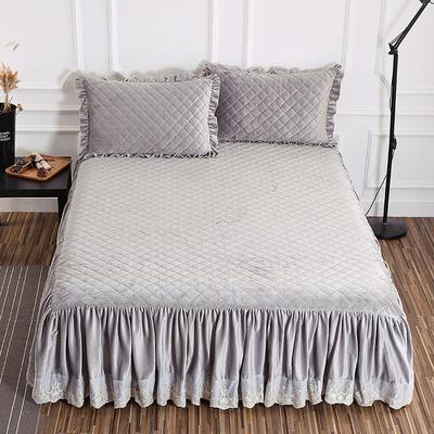 水晶绒夹棉单品-床裙 180*220cm(定做时间1~2天) 烟灰