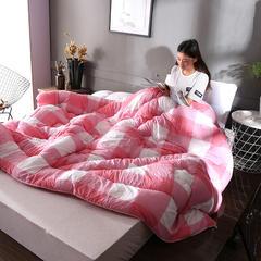 水洗棉时尚冬被系列 150*200cm 粉色格子