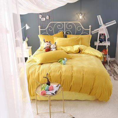 水晶绒针织提绒系列四件套 标准(1.5m床-1.8m床)四件套 怀旧黄
