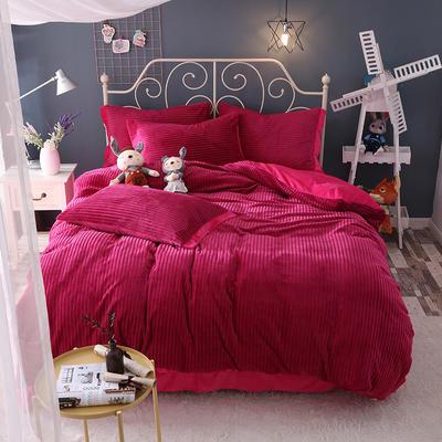 水晶绒针织提绒系列四件套 标准(1.5m床-1.8m床)四件套 绛紫红