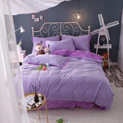 水晶绒针织提绒系列四件套 标准(1.5m床-1.8m床)四件套 香芋紫