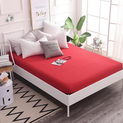 床笠 全棉床笠 床罩 纯色13372纯棉单品床笠 120*200+25 床笠高度25cm 大红