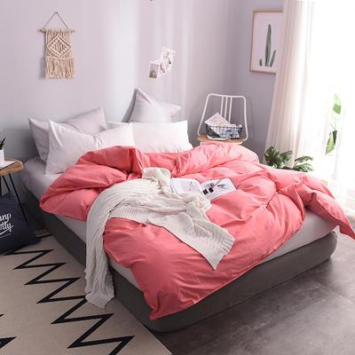 全棉13372纯色系列  纯色被套 155*205(适合150*200被芯) 胭脂