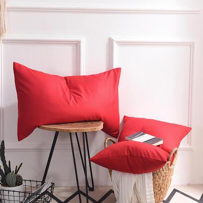 枕套 纯色枕套 全棉枕套 爆款网红学生枕套 13372面料  (一对装) 48cmX74cm 大红