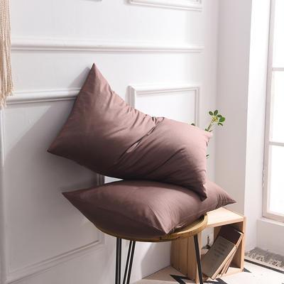 枕套 纯色枕套 全棉枕套 爆款网红学生枕套 13372面料  (一对装) 48cmX74cm 咖色