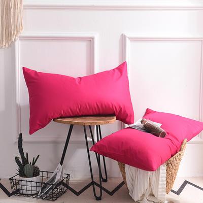 枕套 纯色枕套 全棉枕套 爆款网红学生枕套 13372面料  (一对装) 48cmX74cm 玫红