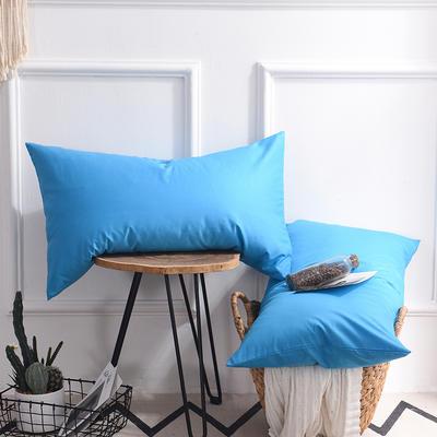枕套 纯色枕套 全棉枕套 爆款网红学生枕套 13372面料  (一对装) 48cmX74cm 湖蓝