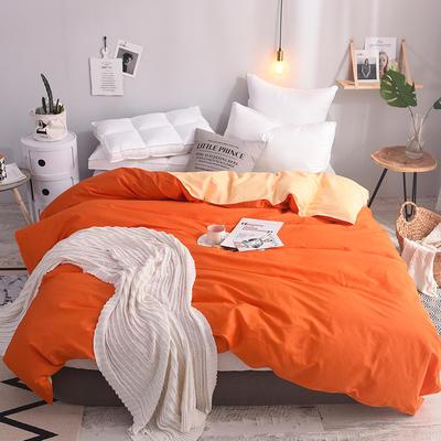 被套 全棉被套 纯色被套 40支学生单被套 被罩 155*205(适合150*200被芯) 橘色加杏黄