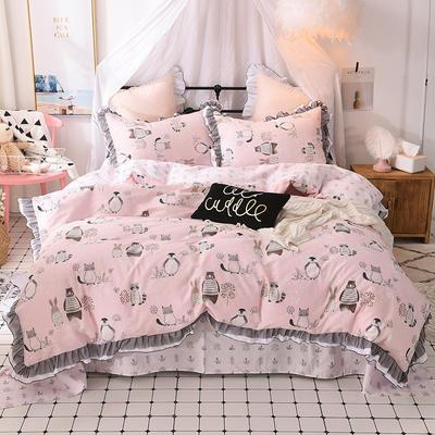 四件套 全棉四件套 网红蕾丝13372纯棉小清新黑纱四件套 1.5m(5英尺)床 欢乐伙伴
