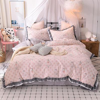 四件套 全棉四件套 网红蕾丝13372纯棉小清新黑纱四件套 1.5m(5英尺)床 可可甜心