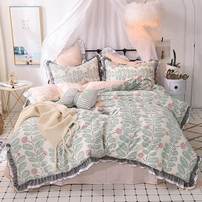 四件套 全棉四件套 网红蕾丝13372纯棉小清新黑纱四件套 1.5m(5英尺)床 小时代
