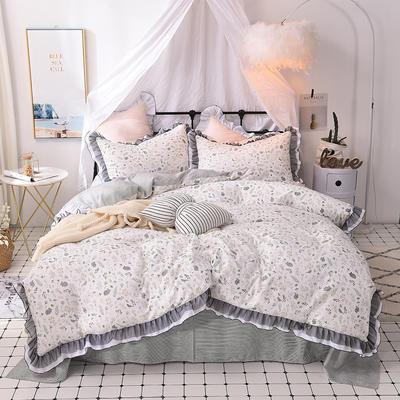 四件套 全棉四件套 网红蕾丝13372纯棉小清新黑纱四件套 1.5m(5英尺)床 一点点