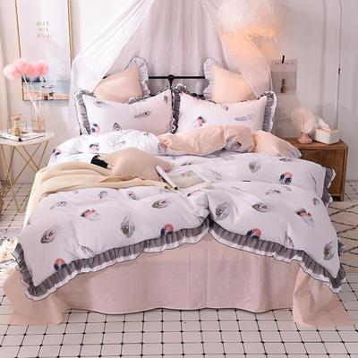 四件套 全棉四件套 网红蕾丝13372纯棉小清新黑纱四件套 恩和家纺 1.8m(6英尺)床 羽菲