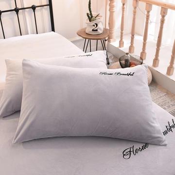 2018 枕套 水晶绒绣花枕套 学生枕套 保暖枕套