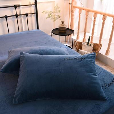 枕套 水晶绒枕套 学生枕套 保暖枕套 绣花枕头套 2020 恩和家纺 48cmX74cm 宝蓝