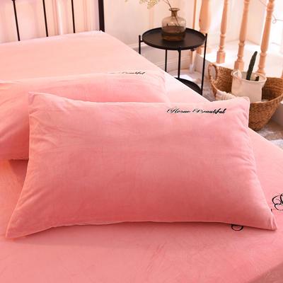 枕套 水晶绒枕套 学生枕套 保暖枕套 绣花枕头套 48cmX74cm 红玉