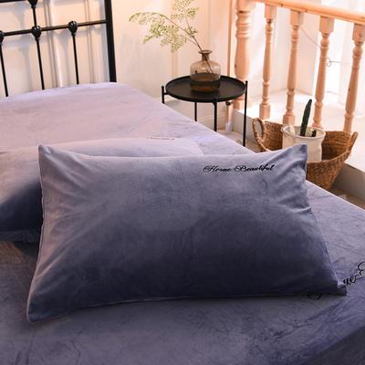 枕套 水晶绒枕套 学生枕套 保暖枕套 绣花枕头套 48cmX74cm 蓝紫