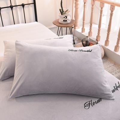 枕套 水晶绒枕套 学生枕套 保暖枕套 绣花枕头套 48cmX74cm 浅米灰