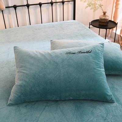 枕套 水晶绒枕套 学生枕套 保暖枕套 绣花枕头套 48cmX74cm 水影蓝