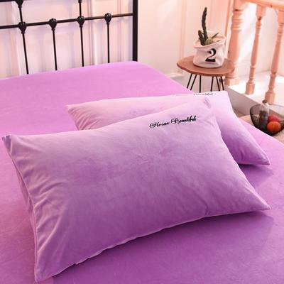 枕套 水晶绒枕套 学生枕套 保暖枕套 绣花枕头套 48cmX74cm 香芋紫