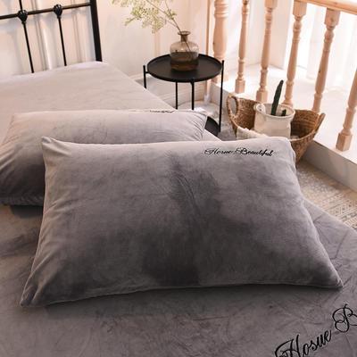 枕套 水晶绒枕套 学生枕套 保暖枕套 绣花枕头套 2020 恩和家纺 48cmX74cm 烟灰