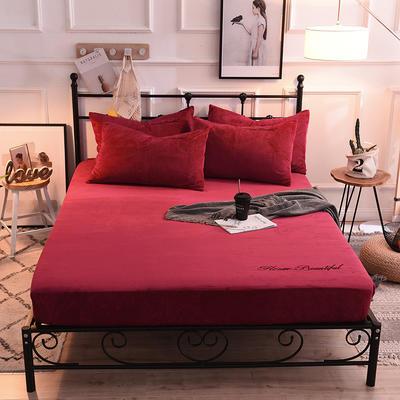床笠 水晶绒绣花床笠 床罩 150x200+25cm 酒红