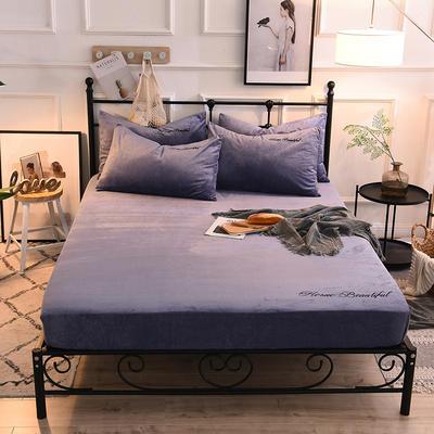 床笠 水晶绒绣花床笠 床罩 150x200+25cm 蓝紫