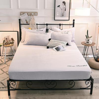 床笠 水晶绒绣花床笠 床罩 150x200+25cm 浅米灰
