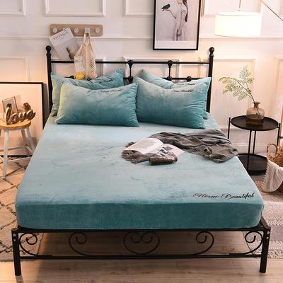床笠 水晶绒绣花床笠 床罩 150x200+25cm 水影蓝