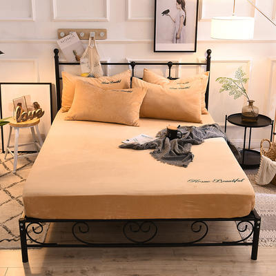 床笠 水晶绒绣花床笠 床罩 150x200+25cm 驼色