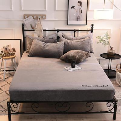 床笠 水晶绒绣花床笠 床罩 恩和家纺 同款枕套/对 烟灰