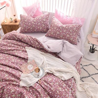 全棉四件套 小清新风格碎花四件套 网红韩版四件套 1.8m(6英尺)床 悠悠花海-红