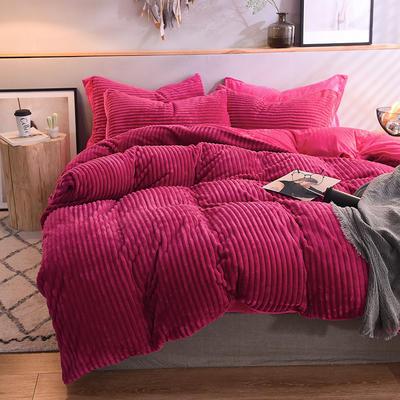 2018 魔法绒针织条纹四件套 水晶绒保暖四件套 学生三件套 1.8m(6英尺)床 绛紫红