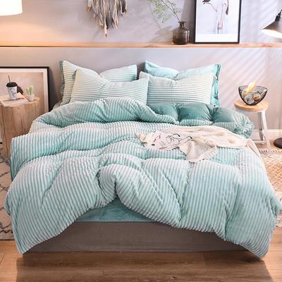 2018 魔法絨針織條紋四件套 水晶絨保暖四件套 學生三件套 1.2m(4英尺)床 水影藍