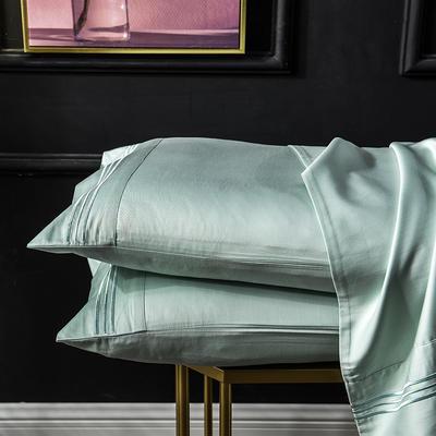 枕套 长绒棉枕套 60支贡缎枕套 学生刺绣枕头套 48cmX74cm 薄荷绿