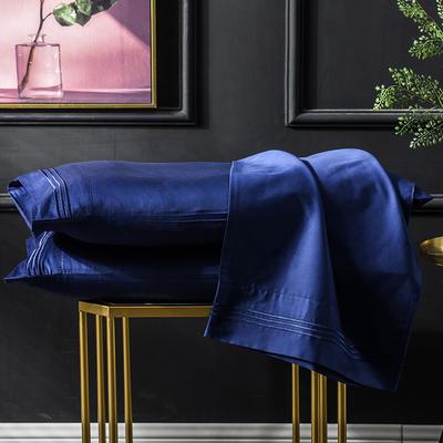 枕套 长绒棉枕套 60支贡缎枕套 学生刺绣枕头套 48cmX74cm 宝石蓝