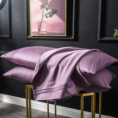 枕套 长绒棉枕套 60支贡缎枕套 学生刺绣枕头套 48cmX74cm 豆沙紫