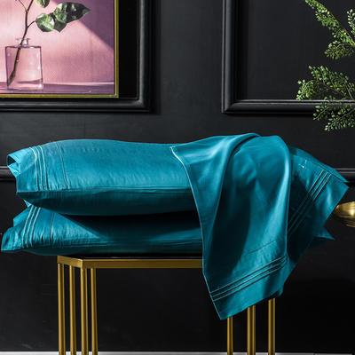 枕套 长绒棉枕套 60支贡缎枕套 学生刺绣枕头套 48cmX74cm 孔雀蓝