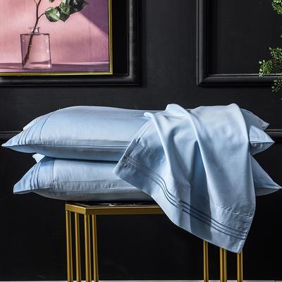 枕套 长绒棉枕套 60支贡缎枕套 学生刺绣枕头套 48cmX74cm 天真蓝