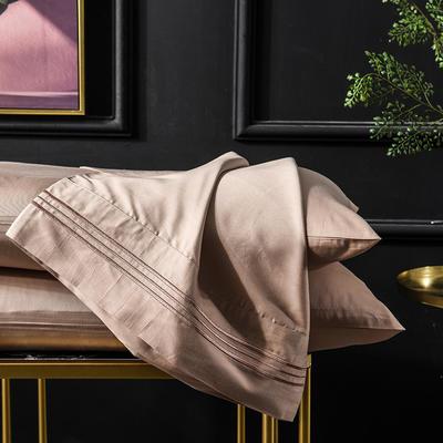 枕套 长绒棉枕套 60支贡缎枕套 学生刺绣枕头套 恩和家纺 48cmX74cm 香槟金