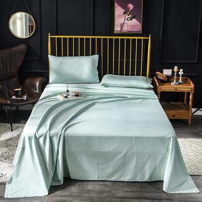 长绒棉床单 60支床单  贡缎床单 学生纯色床单 恩和家纺 245*250cm 薄荷绿