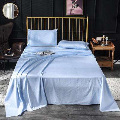 长绒棉床单 60支床单  贡缎床单 学生纯色床单 180*245cm 天真蓝